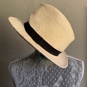 H&M Straw Woven Fedora Hat with black Ribbon
